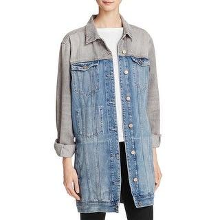 Guess Womens Jessie Denim Jacket Colorblocked Longline