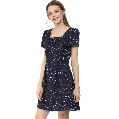 Women's Star Print Casual Square Neck Short Sleeve A-Line Dress