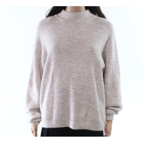 free press Women's Beige Size XXS Ribbed Long Sleeve Mock Sweater