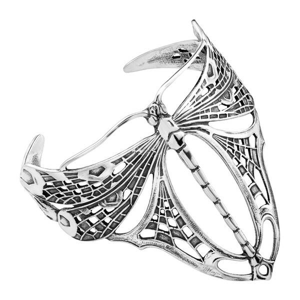 Van Kempen Art Nouveau Dragonfly Cuff Bracelet in Sterling Silver - White