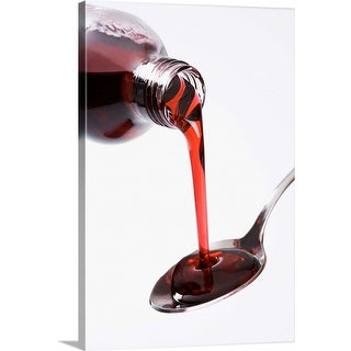 """""""Bottle pouring spoon of cough syrup"""" Canvas Wall Art"""