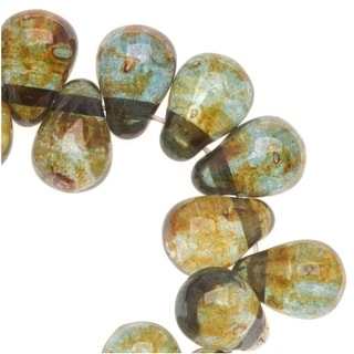 Link to Czech Glass Teardrop Beads 6x4mm 'Transparent Green' (50) Similar Items in Jewelry & Beading