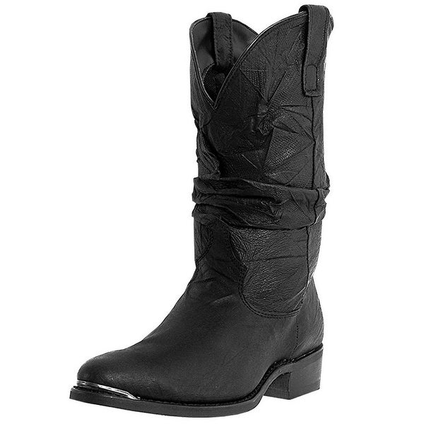 Dingo Western Boots Mens Leather Amsterdam Slouch Black