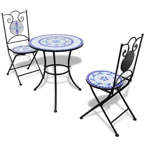 vidaXL 3 Piece Bistro Set Ceramic Tile Blue and White
