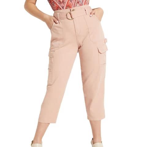 Guess Women's Pants Pink Size 6X24 Zandaya Cropped Utility Stretch