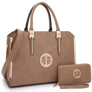 Dasein Women Briefcase Satchel Handbag with Matching Wallet