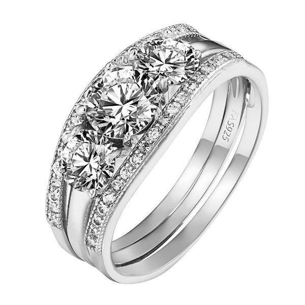 Sterling Silver 3 Solitaire Ring Cubic Zirconia Engagement Wedding Womens Bridal