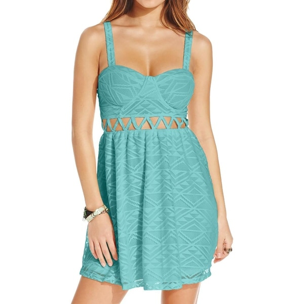 Material Girl Womens Juniors Mini Dress Lace Cut-Out