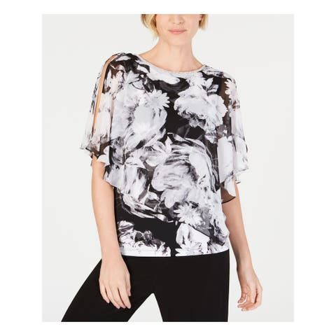 MSK Womens Gray Embellished Floral Jewel Neck Top Size PS