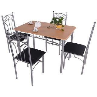 Costway 5PCS Wood And Metal Dining Set Table and 4 Chairs Home Kitchen Modern Furniture
