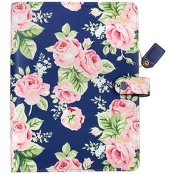"""Navy Floral - Color Crush A5 Faux Leather 6-Ring Planner Binder 7.5""""X10"""""""
