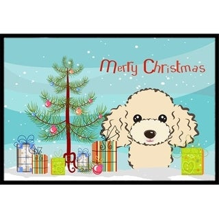 Carolines Treasures BB1630MAT Christmas Tree & Buff Poodle Indoor or Outdoor Mat 18 x 27