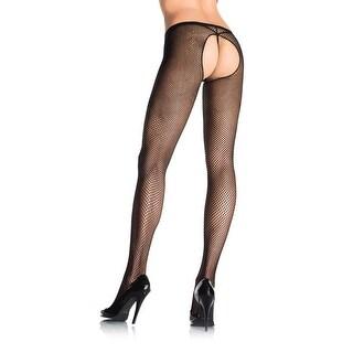 Leg Avenue Crotchless Fishnet Pantyhose - Multi - One Size