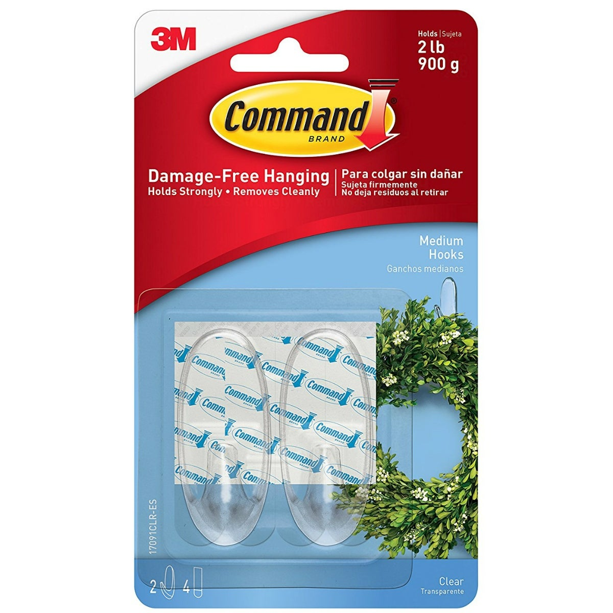 Command 17091CLR Designer Hooks with Strips, Medium, Clear, 2 Pack