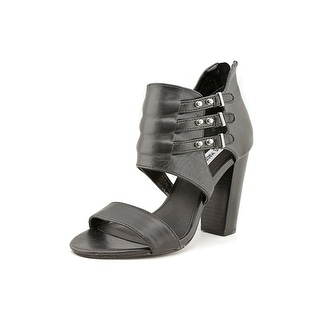Steve Madden Urgentt Women Open Toe Leather Black Sandals
