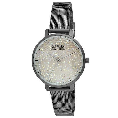 Bob Mackie Womens Glitter-Dial Mesh Strap Watch- 3 Colors Available