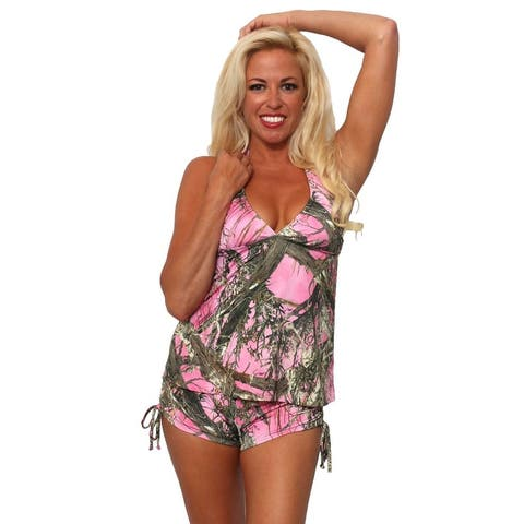 Women's 2-Piece Camo Bikini Pink True Timber Tankini Top & String Shorts Beach Swimwear Swimsuit