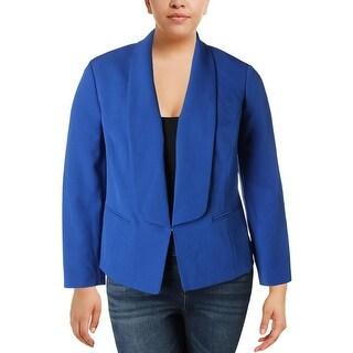 Kasper Womens Plus Open-Front Blazer Shawl Collar Colored