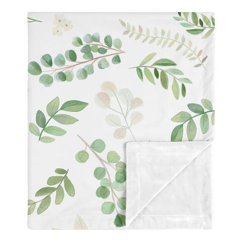 Floral Leaf Girl Baby Receiving Security Swaddle Blanket - Green White Boho Watercolor Botanical Woodland Tropical Garden