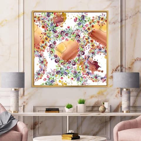 Designart 'Vibrant Wild Spring Leaves, Wildflowers & Berries' Modern Framed Canvas Wall Art Print