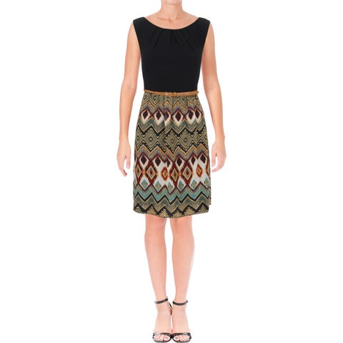 Connected Apparel Womens Casual Dress Chiffon Printed