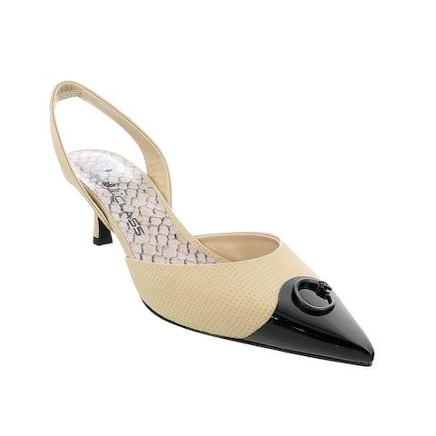 Roberto Cavalli Class Beige/Black Leather Classic Sling Back Mid Heel Shoes-