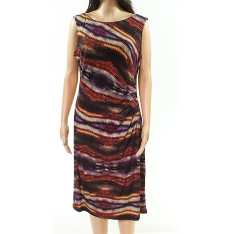 Connected Apparel Multi Womens Printed Sheath Dress