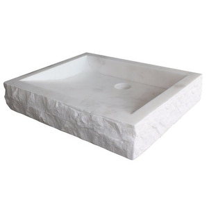 Chiseled Rectangular Natural Stone Vessel Sink - White Marble
