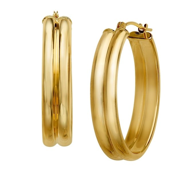 Double-Oval Hoop Earrings in 14K Gold - YELLOW