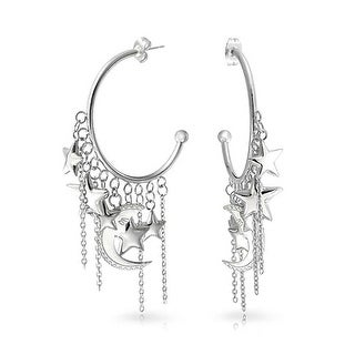 Bling Jewelry 316L Stainless Steel Crescent Moon Star Charm Hoop Earrings