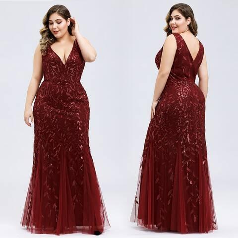 Ever-Pretty Women's Plus Size V-Neck Mermaid Dress 78862