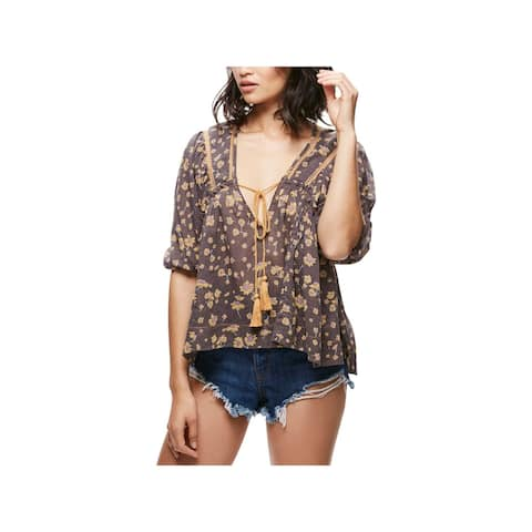 Free People Womens Blouse Printed Pleated