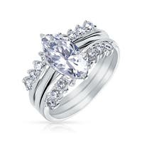Bling Jewelry .925 Silver CZ Marquise Engagement Ring Set Rhodium Plated