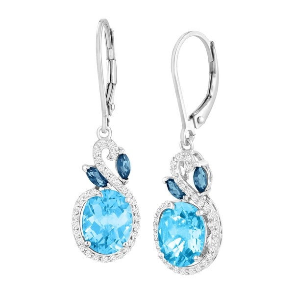 5 3/8 ct Natural London, Swiss Blue & White Topaz Drop Earrings in Sterling Silver