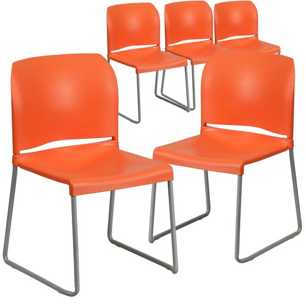 5 Pack 880 lb. Capacity Full Back Contoured Sled Base Stack Chair. Opens flyout.