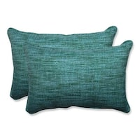Set of 2 Caribbean Blue and Green Beach Horizon Outdoor Corded Rectangle Throw Pillows 24.5""