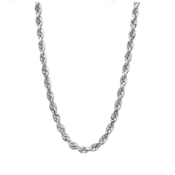 Mcs Jewelry Inc Sterling Silver White 925 Diamond Cut Rope Chain Necklace (3.6mm)