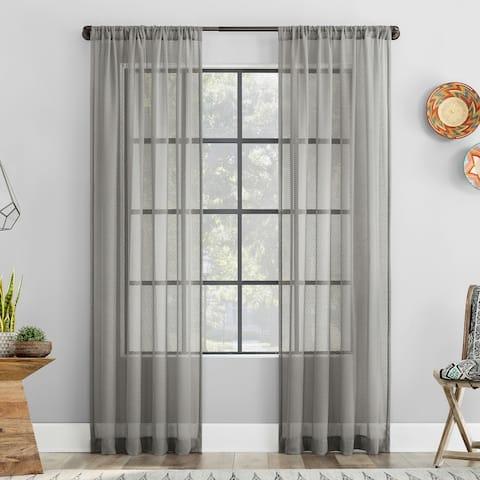 Clean Window Vintage Open Weave Anti-Dust Sheer Curtain Panel, Single Panel