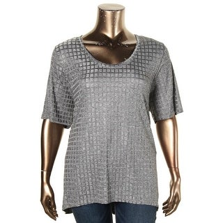 Nally & Millie Womens Plus Tunic Top Textured Hi Low