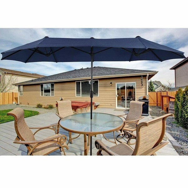 Phi Villa 13ft Outdoor Market Umbrella Double Sided Twin Large Patio Umbrella With Crank Navy Blue Red Beige Overstock 31058345