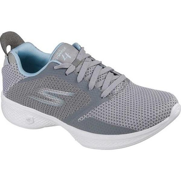 4dfa93e81f74 Shop Skechers Women's GOwalk 4 Edge Walking Shoe Gray/Light Blue ...