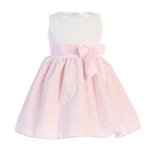 Baby Girls White Pink Embroidered Cotton Flower Girl Dress