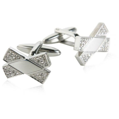 Stainless Steel Crystal Bowties Cufflinks