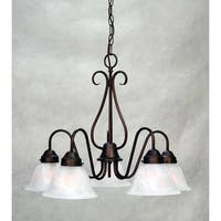 Volume Lighting V2355 Minster 5 Light 1 Tier Chandelier with Alabaster Glass Sha