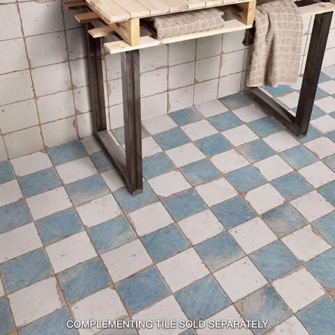 "SomerTile Artisan Damero Azul 13"" x 13"" Ceramic Floor and Wall Tile"