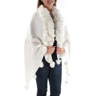ALFANI Womens Ivory Sleeveless PONCHO Sweater Size: L