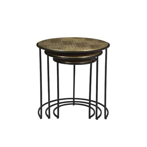 "Rhu Home Nedir Iron Nesting Table Black -Set of 3 - 19"" x 19"""