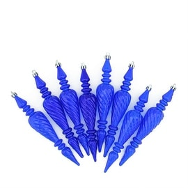 "8ct Blue Transparent Spiral Shatterproof Christmas Finial Ornaments 7"" (180mm)"