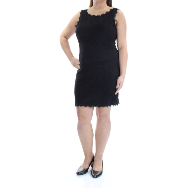 JUMP Womens Black Lace Detail Sleeveless Scoop Neck Below The Knee Shift Dress Size: L