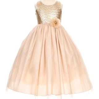Flower Girl Dress Elegant Sequin Bodice Floor Length Champagne CC 1204